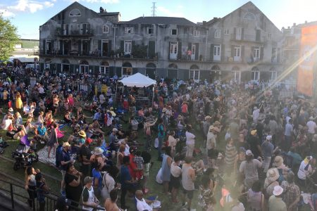 Crowd at the 2017 French Quarter Festival outside the New Orleans Jazz Museum at the Old U.S. Mint.
