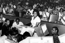 Band instructor Yvonne Busch, seen here at G.W. Carver Senior High School in 1962, where she was surprised with the award for Teacher of the Year.