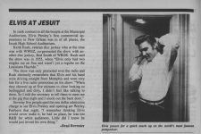 Brad Brewster on Elvis at Jesuit in Wavelength from August 1990.