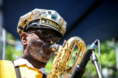 Roger Lewis, seen here in 2017, drew from lessons at Houston's School of Music as a baritone saxophone player in Fats Domino's touring band and in local brass bands.