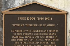 Plaque on the final resting place of Ernie K-Doe (1936-2001), Antoinette K-Doe (1943-2009), and Earl King (1934-2003).