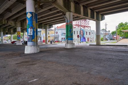 Allen Toussaint mural on North Claiborne Avenue as seen from the beneath the I-10 overpass.