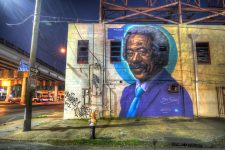 Mural of Allen Toussaint on North Claiborne Avenue in 2019.