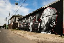 Sidney Bechet mural by MTO viewed looking up North Claiborne Avenue.