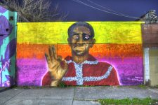 Mural of James Booker painted by Preacher, seen here in 2019.