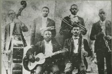 The only known photograph of jazz progenitor Buddy Bolden (standing, second from left), a regular performer at Globe Hall.