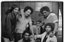Left to right: Charles, Art, Cyril, Aaron, and Ivan Neville at the Patio Lounge at 4529 Tchoupitoulas in 1980.