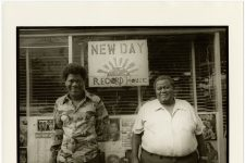 From 1980, Earl King (1934 - 2003) and a man called Ike in front of the New Day Record House on Baronne Street, which King owned half of.